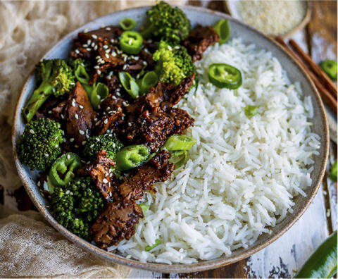 Beef Style Strips in a Black Bean Sauce